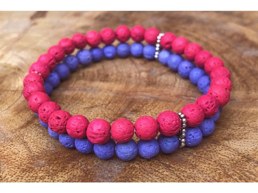 Láva náramek růžová-fialová 6mm