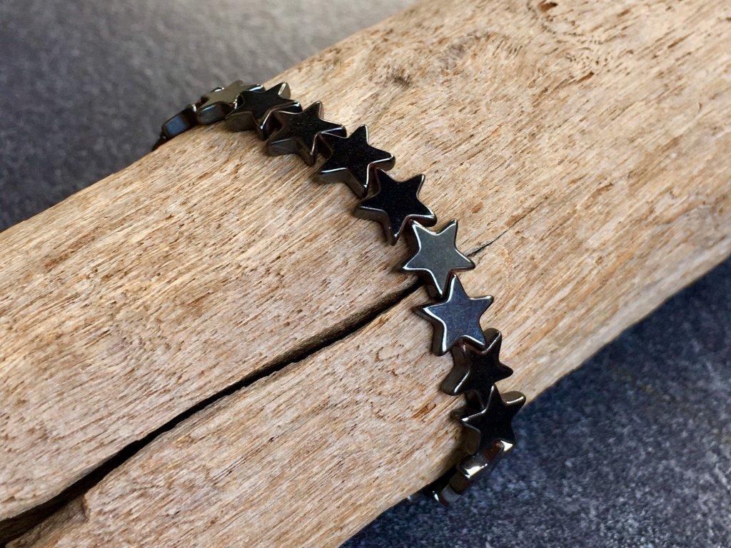 náramky z minerálů, hematit náramek hvězdička