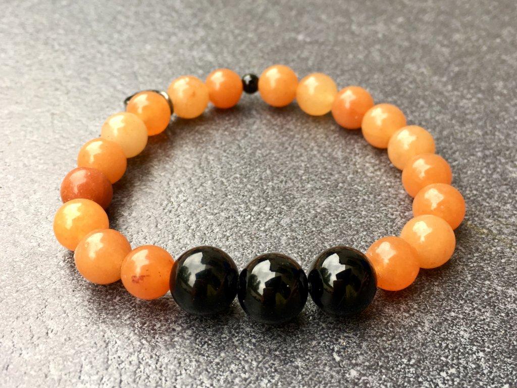 náramky z minerálů, Avanturín oranžový, onyx náramek
