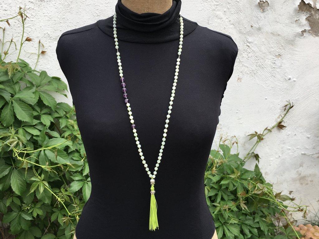 Mála náhrdelník jadeit, ametyst