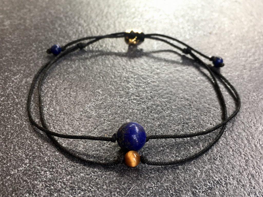 náramky z minerálů, náramek pro znamení panna lapis lazuli, tygří oko
