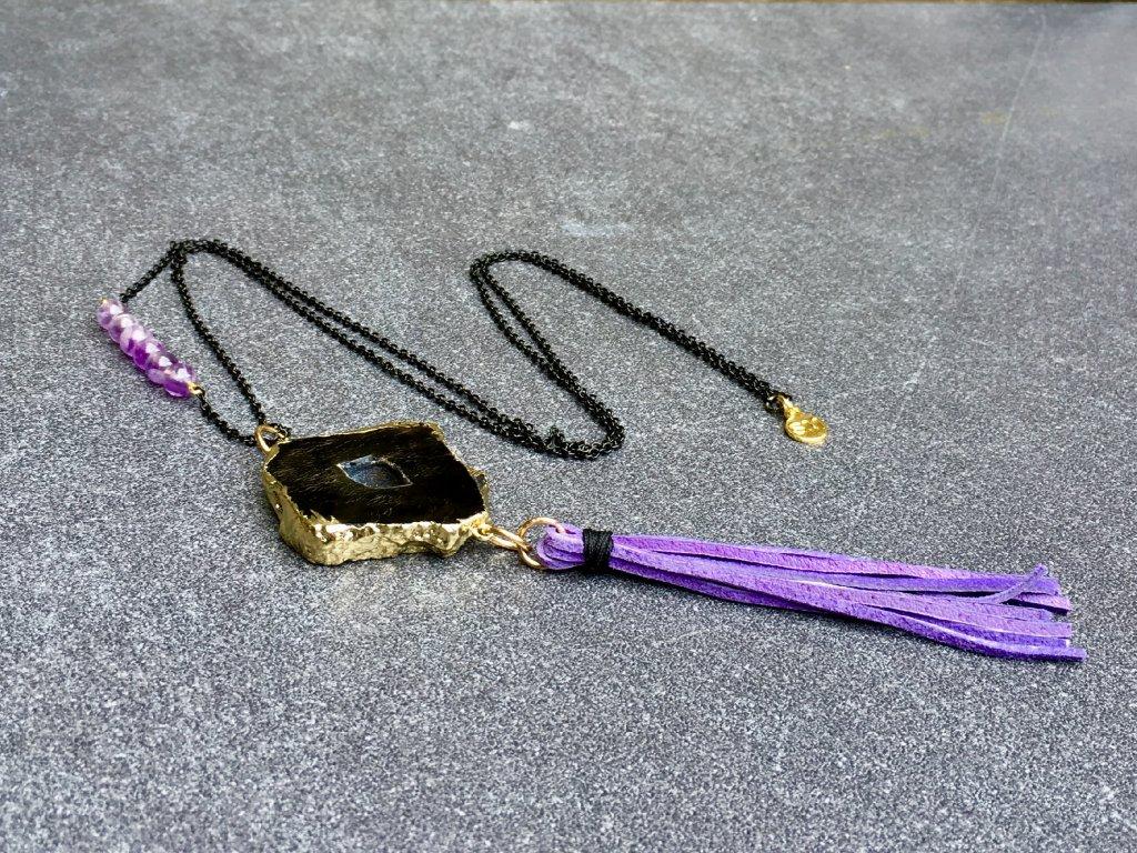 náhrdelník achát, ametyst