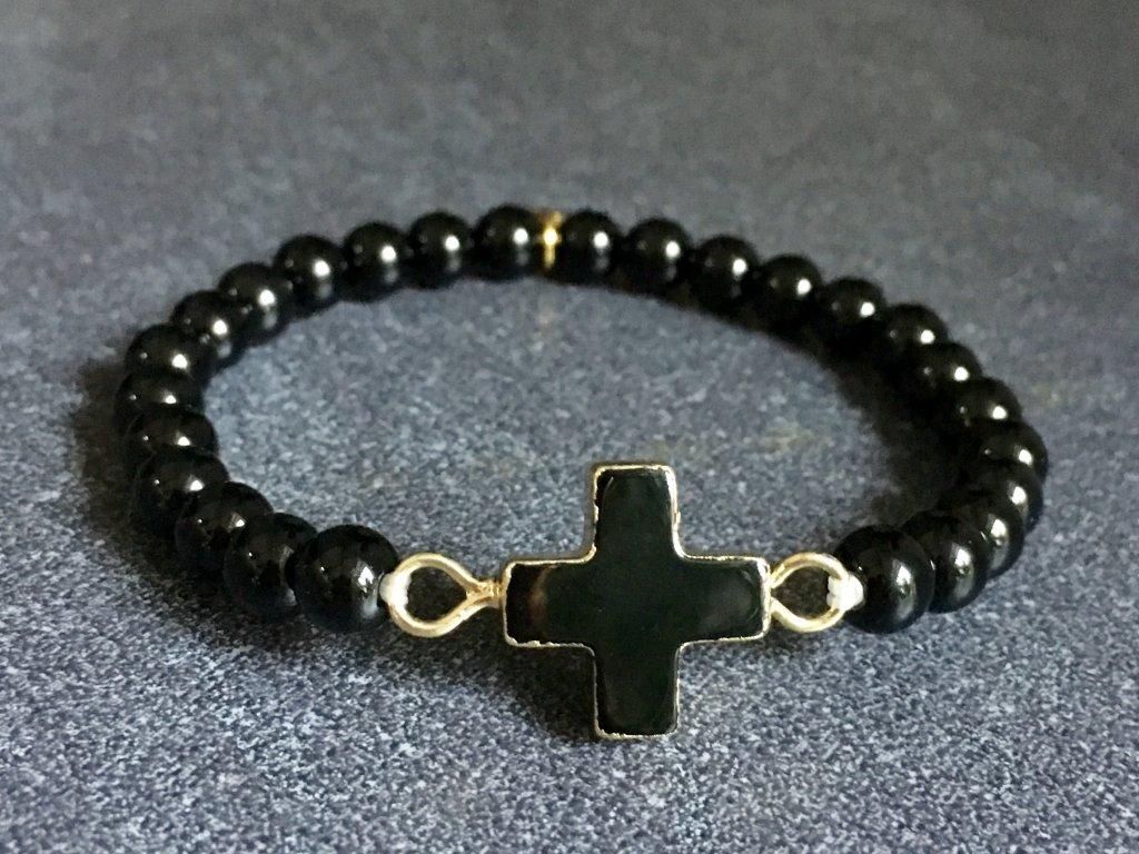 náramky z minerálů, achát černý, křížek