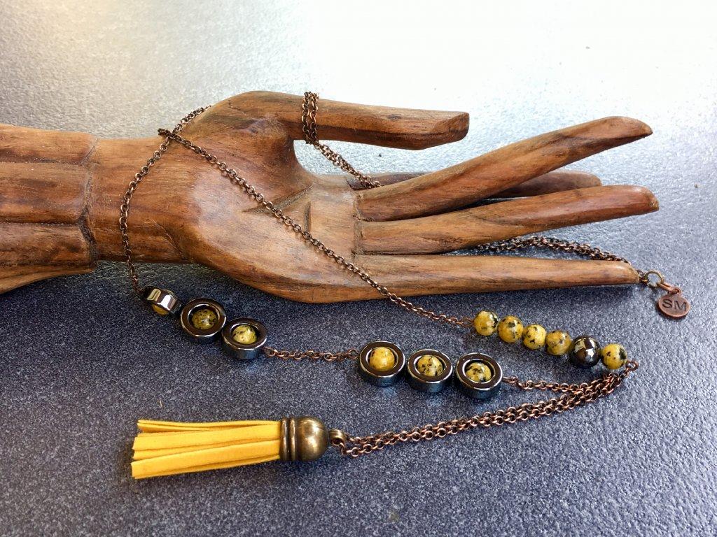 náhrdelník jaspis hematit