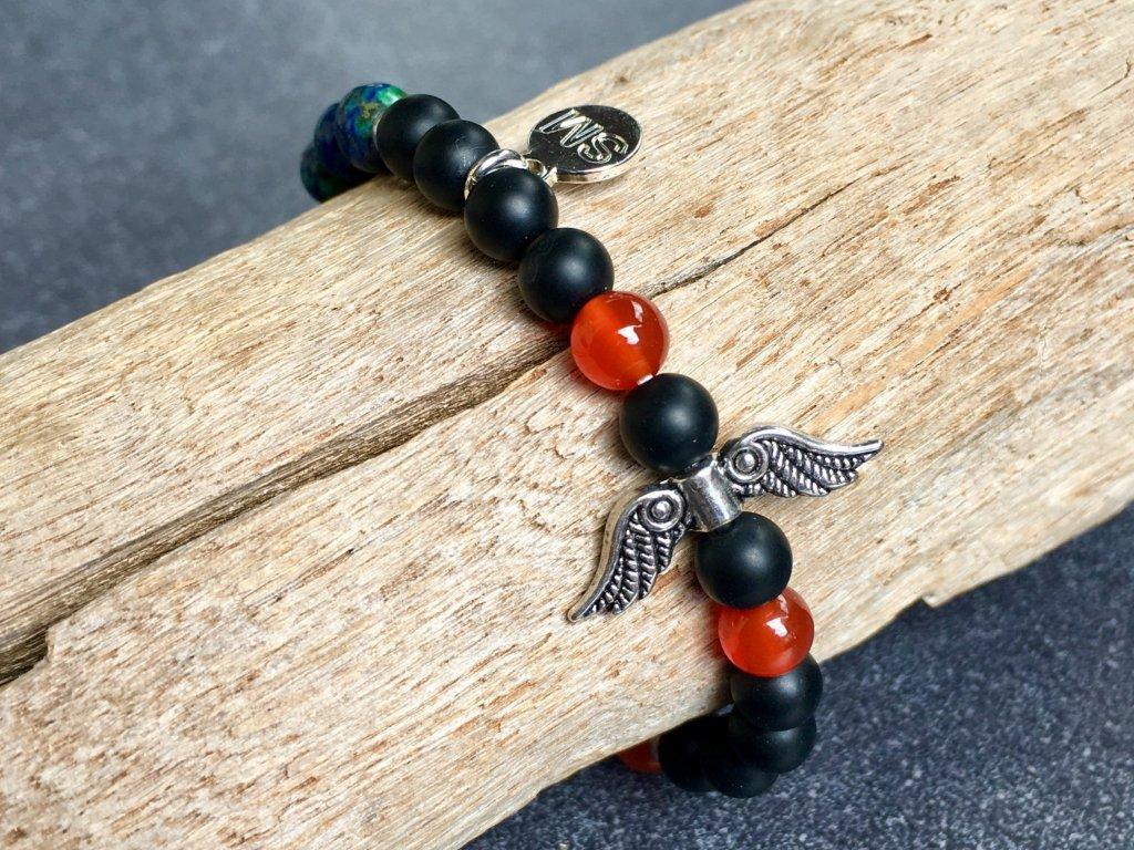 náramky z minerálů, achát, karneol, chryzokol, měsíční kámen andělské křídlo náramek