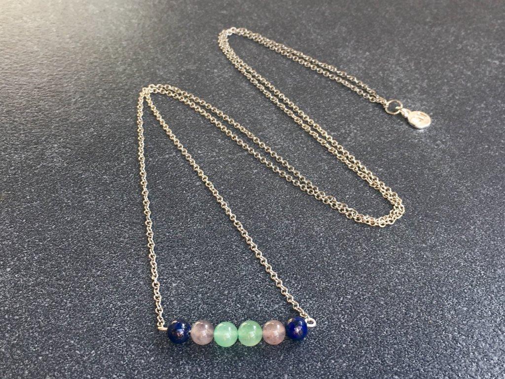 iolit, avanturín, lapis lazuli náhrdelník pro znamení STŘELEC