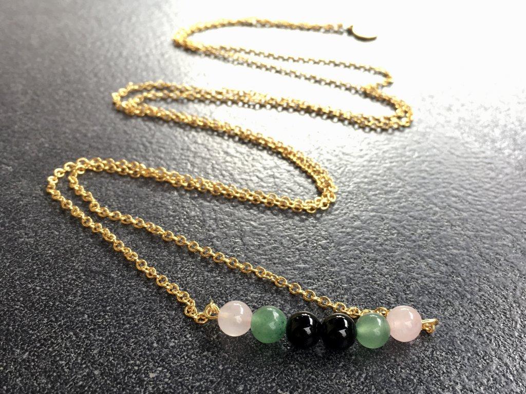 náhrdelníky z minerálů, růženín, avanturín zelený, achát černý náhrdelník chain
