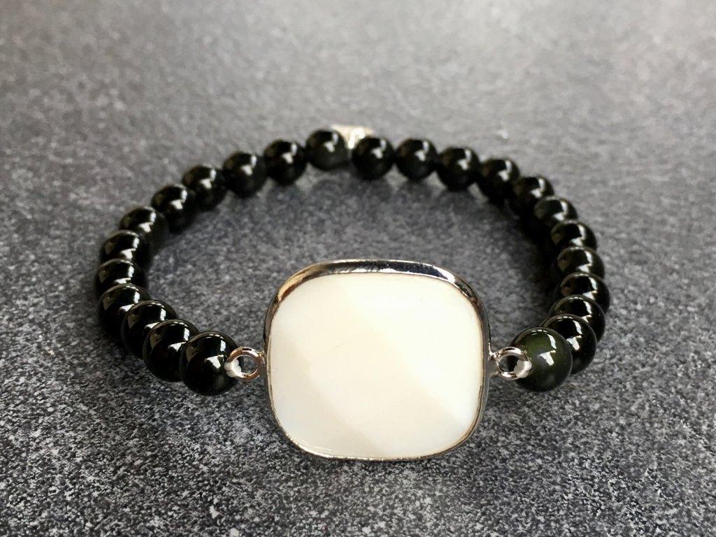 náramky z minerálů, obsidián černý, perleť