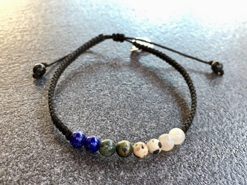 náramky z minerálů, životní číslo, náramek bound lapis lazuli, jaspis ryolit, jaspis dalmatin, měsíční kámen