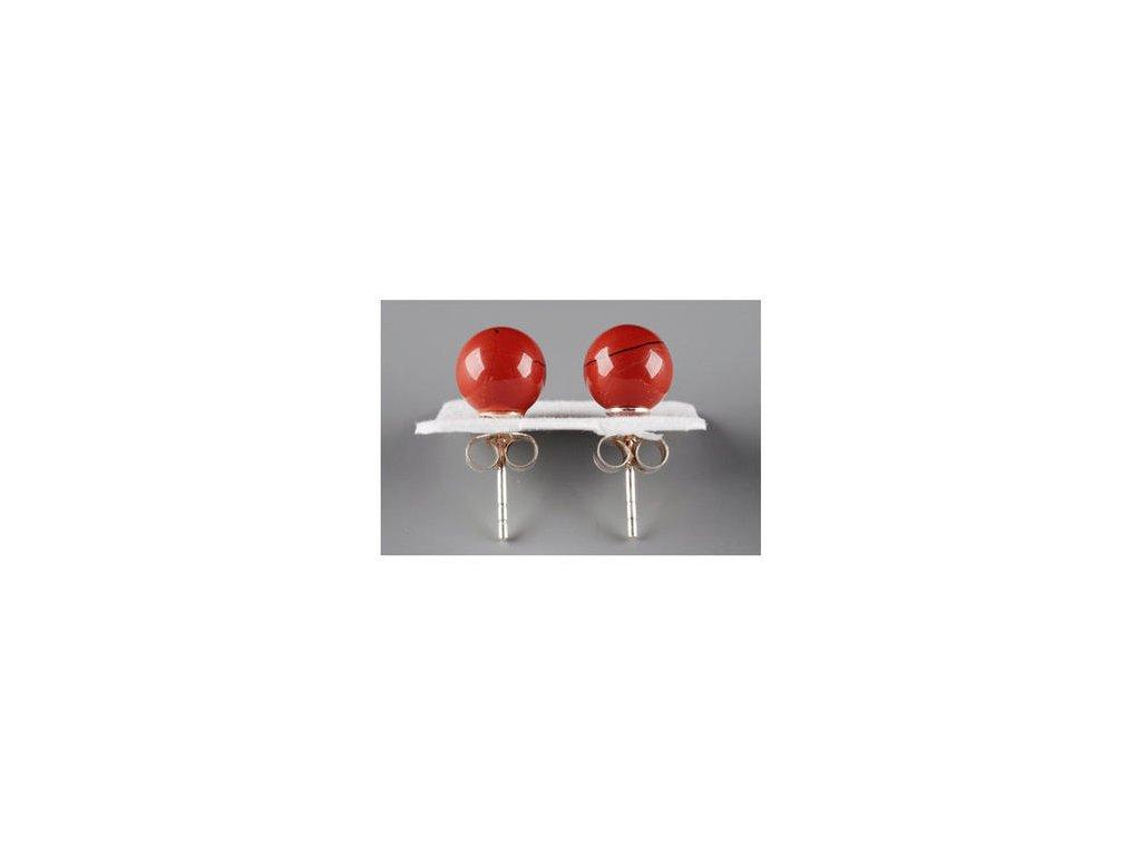 Jaspis červený náušnice - kulička 8 mm