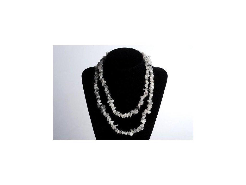 náhrdelníky z minerálů, křišťál s turmalínem