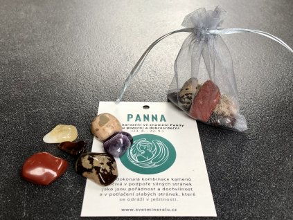 balíček kamenů pro znamení panna, jaspis, býčí oko, citrín, ametyst