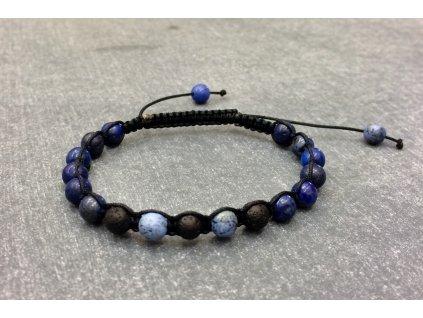 náramky z minerálů, lapis lazuli, sodalit, láva náramek shamballa
