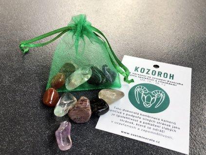 křišťál, růženín,záhněda, balíček minerálů obsidián, jaspis, onyx balíček minerálů pro znamení KOZOROH