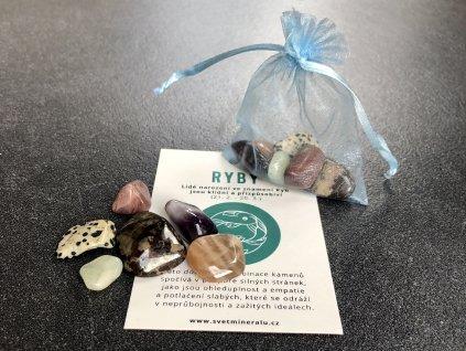 balíček pro znamení Ryby, opá, akvamarín, jaspis, ametyst, měsíční kámen