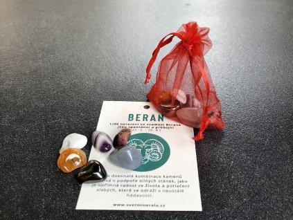 balíček minerálů pro znamení Beran, rodonit, achát, hematit, magnezit, karneol, ametyst