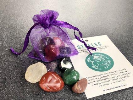 balíček minerálů pro znamení střelec, jaspis, ametyst, avanturín, hematit, obsidián, záhněda