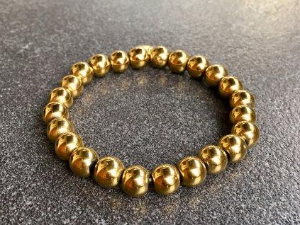 náramky z minerálů, hematyt zlatý náramek