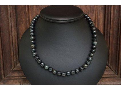 obsidián černý zlatý náhrdelník