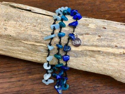 lapis lazuli, akvamarín, apatit náramek