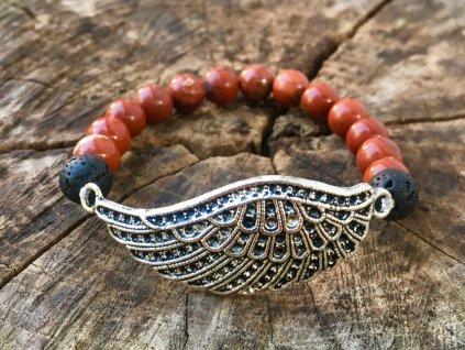 jaspis červený, láva náramek andělské křídlo