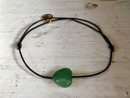 Avanturín zelený náramek simple - srdíčko