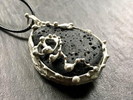 láva náhrdelník cínovaný