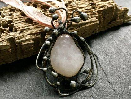 růženín náhrdelník cínovaný