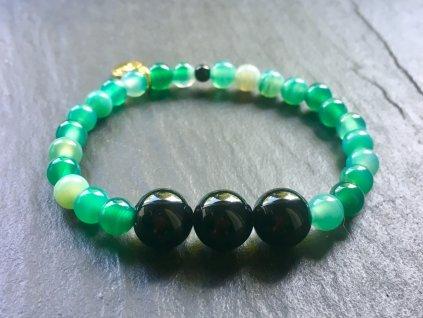 achát zelený s onyxem náramek