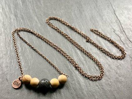 náhrdelníky z minerálů, jaspis, láva náhrdelník