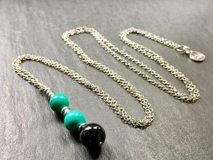 tyrkenit, onyx náhrdelník