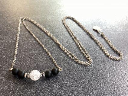 křišťál, onyx náhrdelník