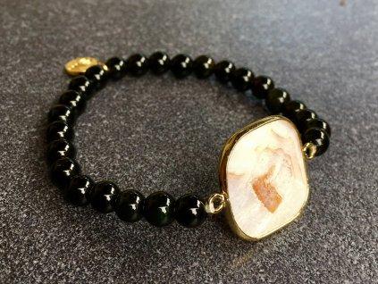 perleť, obsidián černý náramek