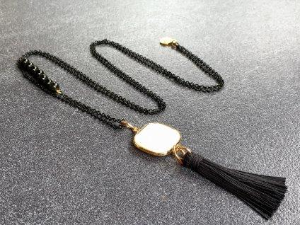 náhrdelník perleť, obsidián černý
