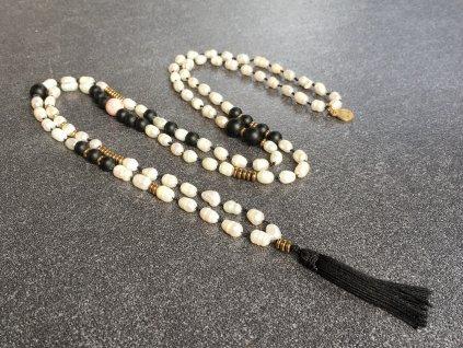 říční perla, achát, hematit náhrdelník MÁLA