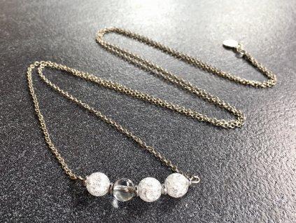 náhrdelník křišťál, hematit