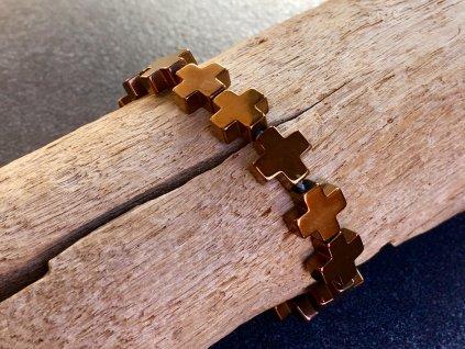 náramky z minerálů, hematit náramek křížek