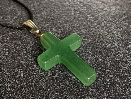 přívěsek avanturín zelený křížek