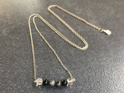 křišťál, obsidián, labradorit náhrdelník pro znamení KOZOROH