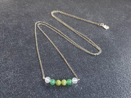 avanturín zelený, chalcedon, jadeit náhrdelník pro znamení RAK