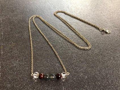 křišťál, granát, křemen náhrdelník pro znamení LEV