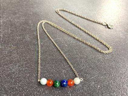 akvamarín, chryzokol, karneol náhrdelník pro znamení BLÍŽENCI