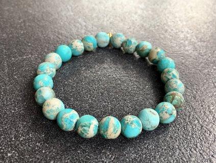 náramky z minerálů, jaspis oceán, modrý mat náramek