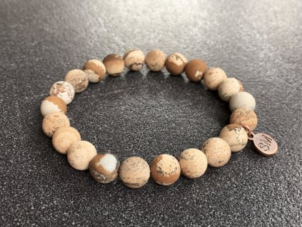 náramky z minerálů, jaspis obrázkový náramek mat