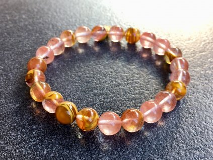 náramky z minerálů, křemen cherry růžový náramek