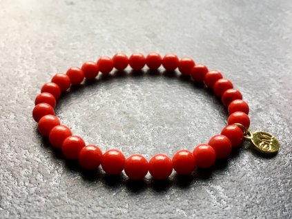 náramky z minerálů, korál červený