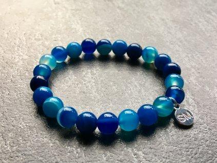 náramky z minerálů, achát modrý