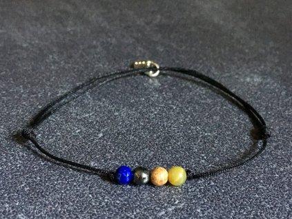 náramky z minerálů, lapis lazuli, hematit, jaspis, opál