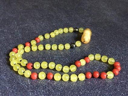 náhrdelníky z minerálů, jadeit, korál, hematit, dětský