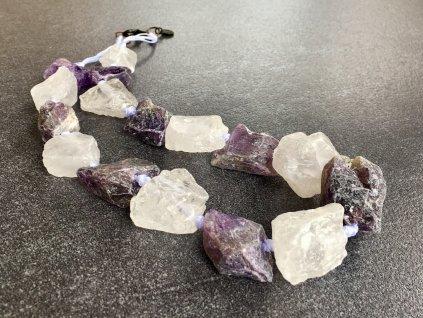 náhrdelníky z minerálů, ametyst, křišťál surový náhrdelník